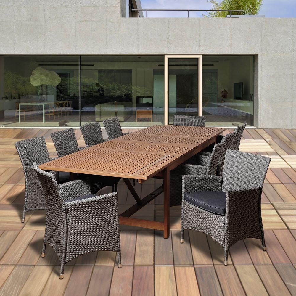 Ia Bruce 11 Piece Eucalyptus Extendable Rectangular Patio Dining Set With Grey Cushions