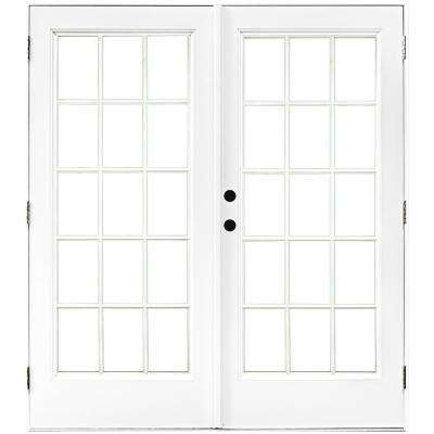 60 in. x 80 in. Fiberglass Smooth White Right-Hand Outswing Hinged Patio Door with 15-Lite SDL