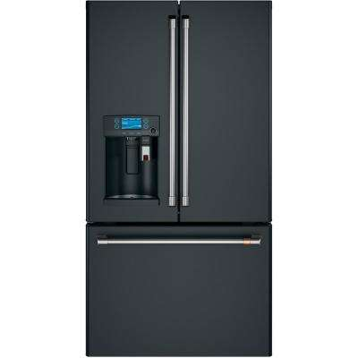 22.2 cu. ft. French Door Refrigerator with Keurig K-Cup in Matte Black, Counter Depth and Fingerprint Resistant