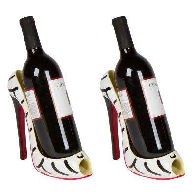 8 in. x 7 in. H High Heel Single Wine Bottle Holder - Zebra Print Wine Rack (Set of 2)