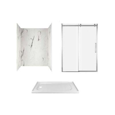 Passage 60 in. x 72 in. Left Drain Alcove Shower Kit in Powder Marble with Chrome Hardware