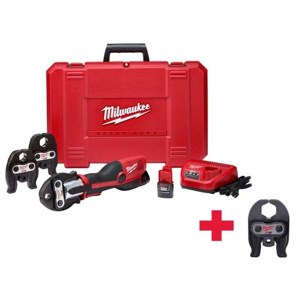 M12 12-Volt Lithium-Ion Force Logic Cordless Press Tool Kit (4 Jaws Included) W/(2) 1.5Ah Battery & Hard Case
