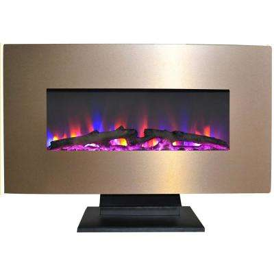 Fireside 36 in. Electric Fireplace with Multi-Color Log Display and Metallic Bronze Frame