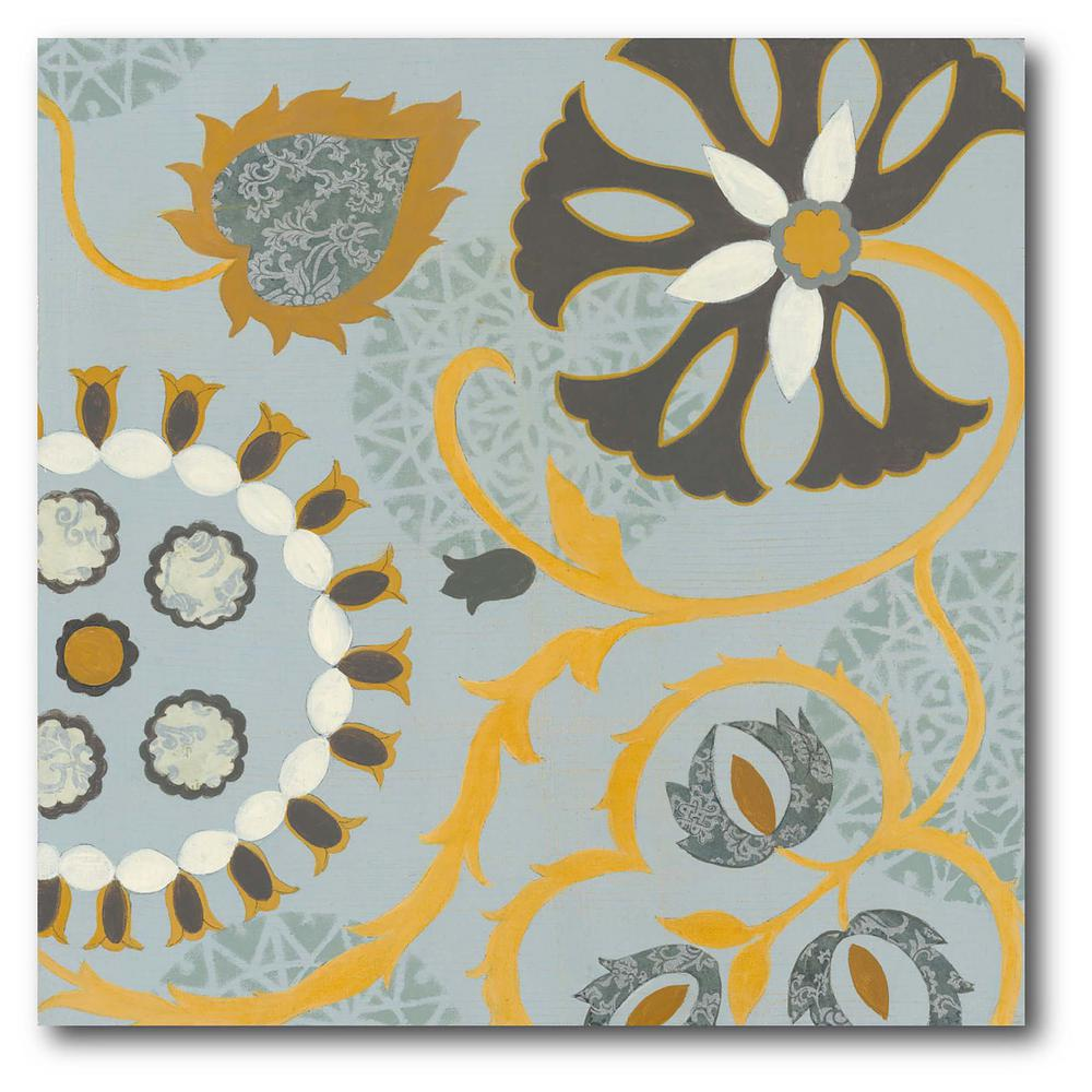 Courtside Market Gold Black and Silver Pattern I Gallery-Wrapped Canvas Nature Wall Art 24 in. x 24 in., Multi Color was $115.0 now $64.03 (44.0% off)