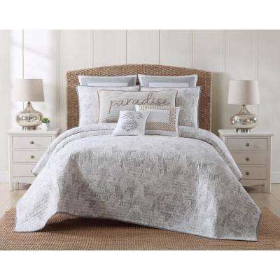 Tropical Plantation Toile King Quilt Set