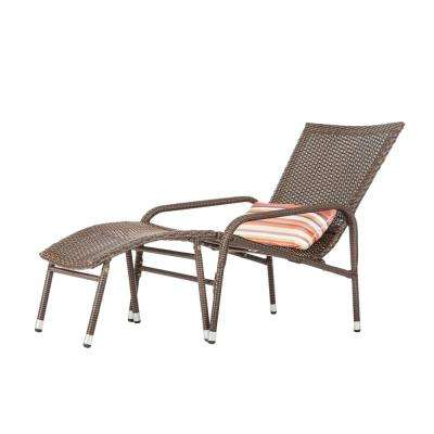 Lido Wicker Outdoor Lounge Chair with Multicolor Lumbar Cushion