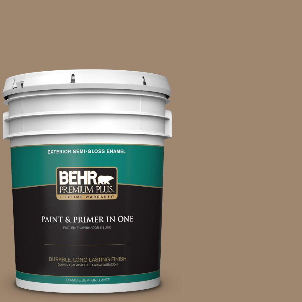 BEHR Premium Plus 5-gal. #700D-5 Toffee Crunch Semi-Gloss Enamel Exterior Paint