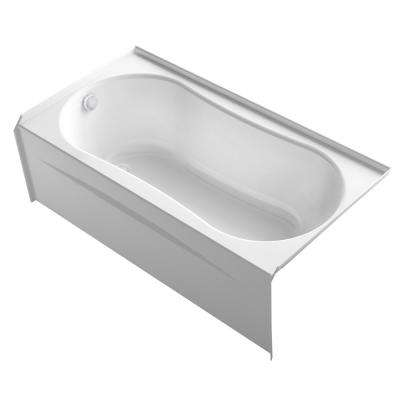 Submerse 60 in. Left-Hand Drain Alcove Bathtub with Integral Flange in White