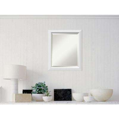 Blanco White Wood 19 in. x 23 in. Contemporary Framed Mirror