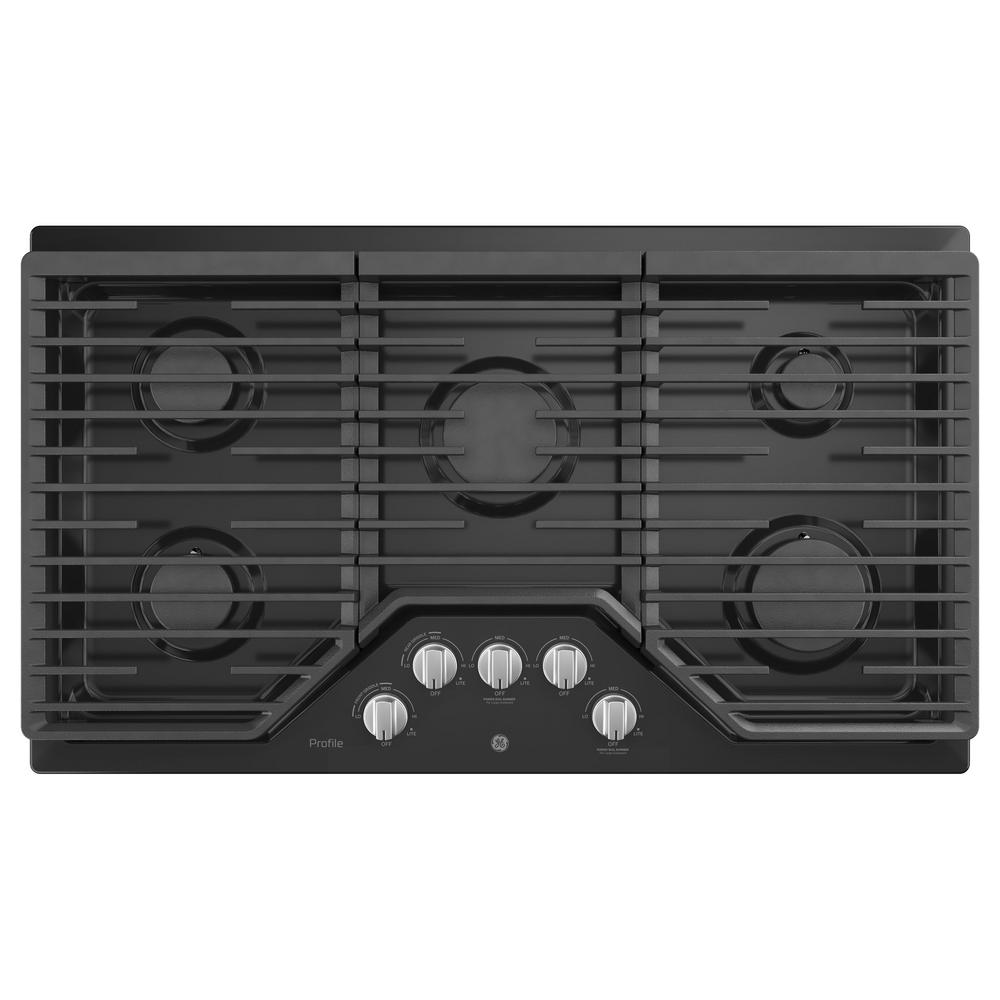 Profile 36 in. Gas Cooktop in Black with 5 Burners with