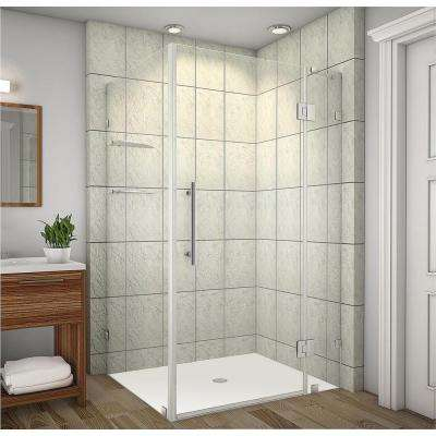 Avalux GS 42 in. x 34 in. x 72 in. Completely Frameless Shower Enclosure with Glass Shelves in Chrome