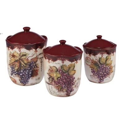 Vintners Journal 3-Piece Traditional Multi-Colored Ceramic 52, 72, 104 oz. Canister Set