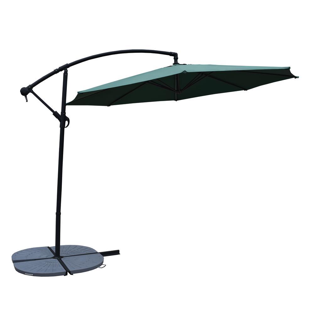 10 ft. Cantilever Tilt Patio Umbrella in Green