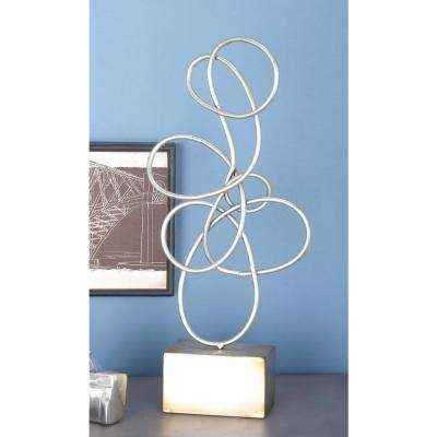 22 in. x 4 in. Decorative Abstract Sculpture in Rustic Silver Iron