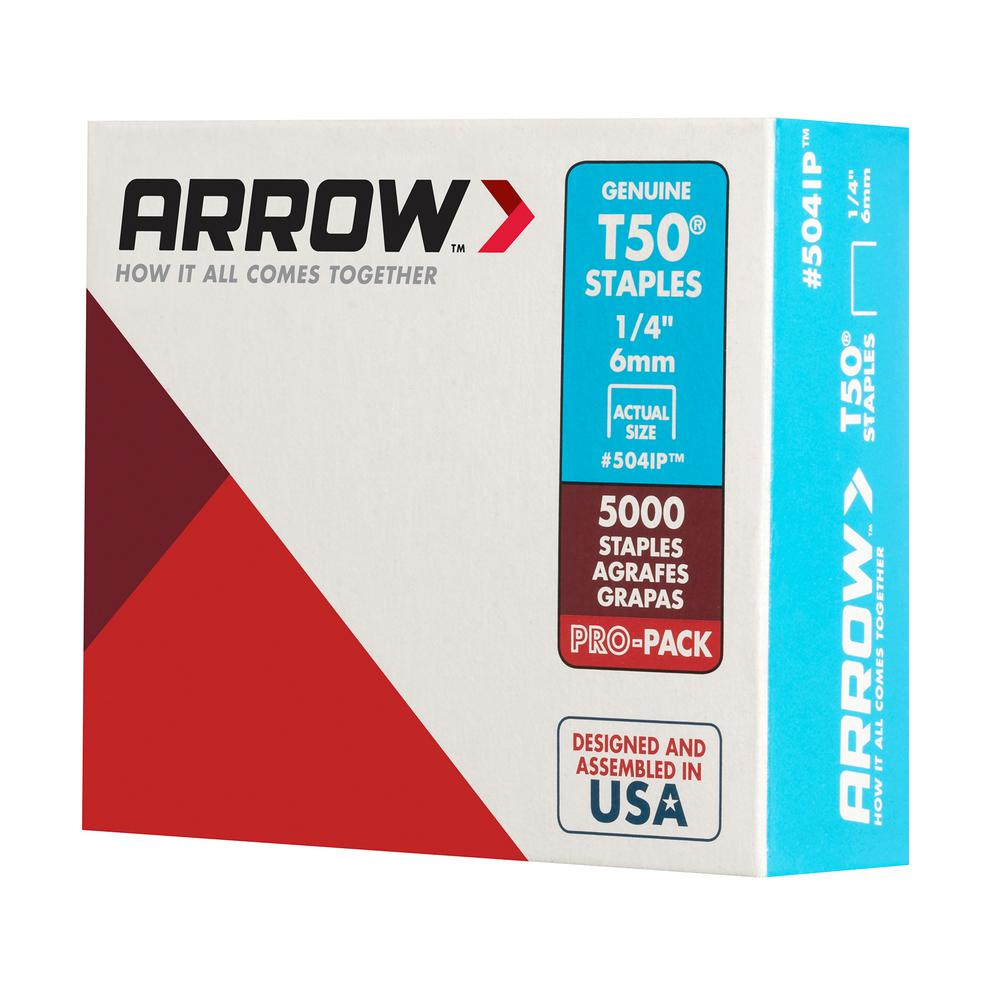 6mm Stainless Steel Staples Pack of 1000 Arrow T50 1//4/""