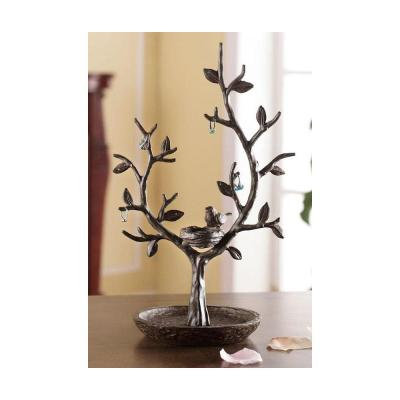 15 in. Aluminum Bird and Twig Jewelry Tree and Nest