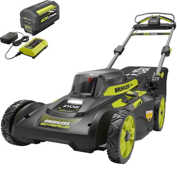 20 in. 40-Volt 6.0 Ah Lithium-Ion Battery Brushless Cordless Walk Behind Self-Propelled Lawn Mower with Charger Included