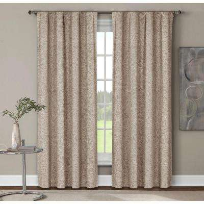 Semi-Opaque Leila Printed Cotton Extra Wide 96 in. L Rod Pocket Curtain Panel Pair, Linen (Set of 2)
