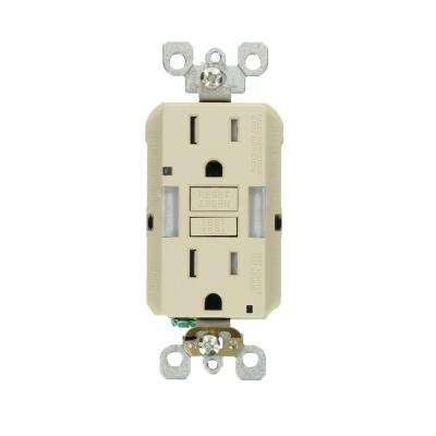 15 Amp Self-Test SmartlockPro Combo Duplex Guide Light and Tamper Resistant GFCI Outlet, Light Almond