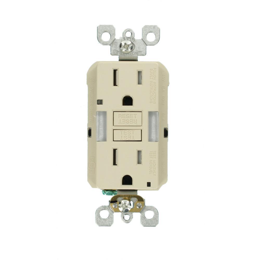 15 Amp Self-Test SmartlockPro Combo Duplex Guide Light and Tamper Resistant GFCI Outlet, Light Almond (10-Pack)