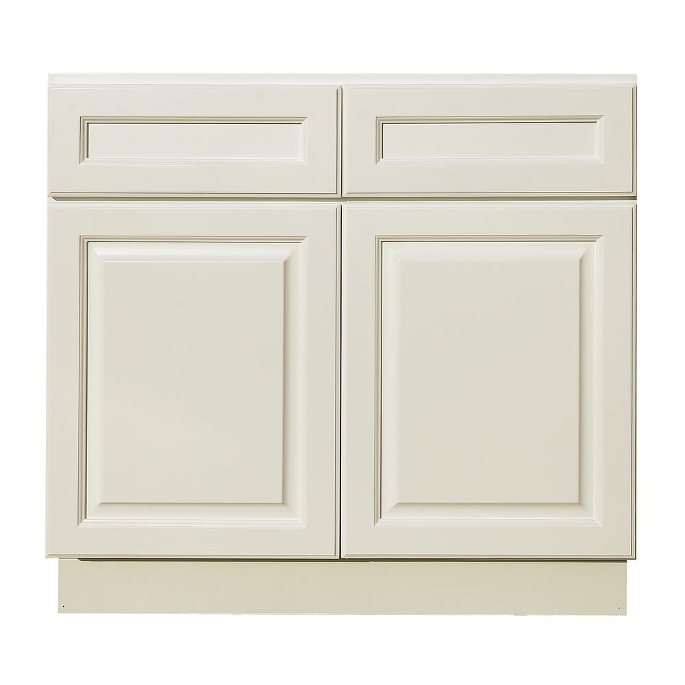 LIFEART CABINETRY La. Newport Assembled 36x34.5x24 in. Base Cabinet with 2-Door and 2-Drawer in Classic White