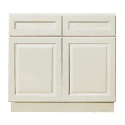 La. Newport Ready to Assemble 36x34.5x24 in. Base Cabinet with 2 Door and 2 Drawer in Classic White