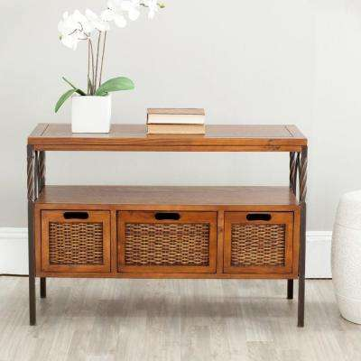 Jennifer Antique Pewter and Dark Walnut Storage Console Table