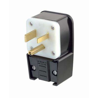 50 Amp 250-Volt Straight Blade Grounding Angle Plug, Black/White
