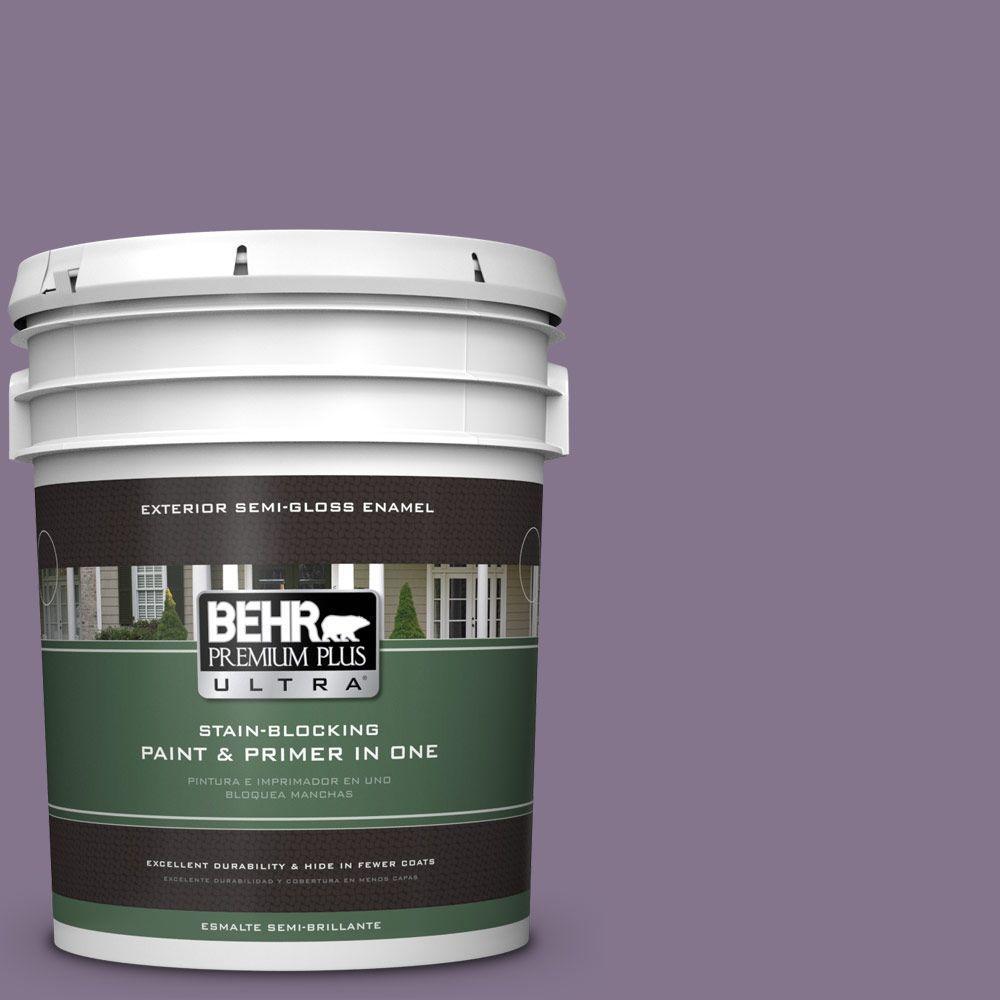 BEHR Premium Plus Ultra 5-gal. #S100-5 Purple Potion Semi-Gloss Enamel Exterior Paint
