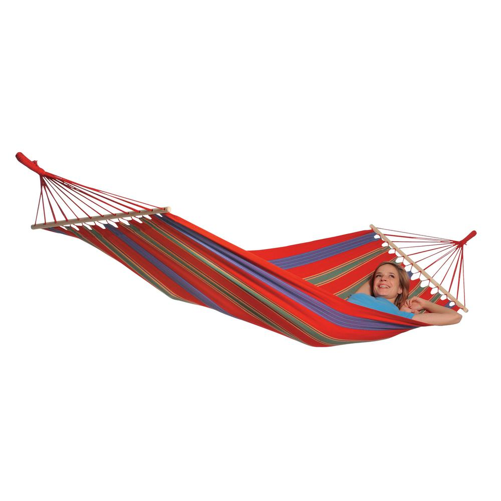 Medium image of byer of maine 10 ft  2 in  poly cotton hammock in red