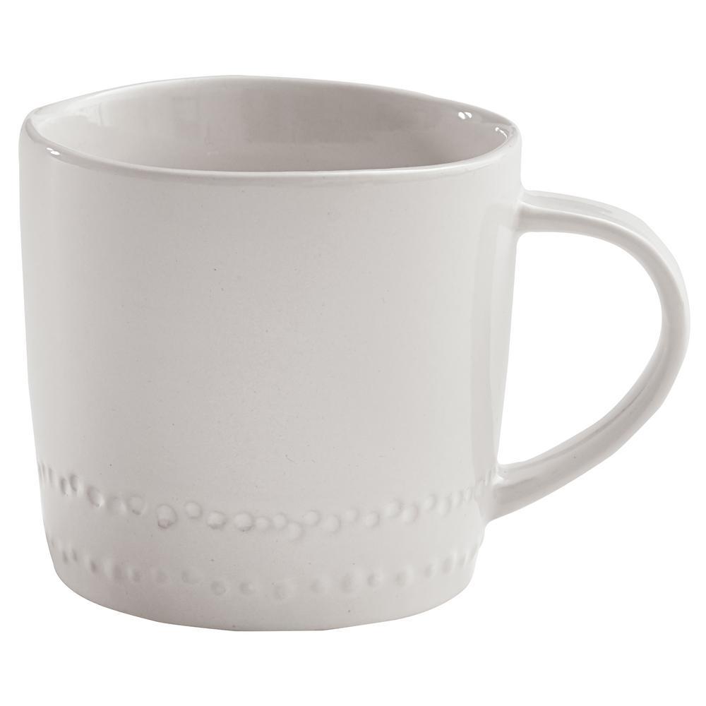 Peyton 8 oz. White Ceramic Coffee Mug (Set of 4)