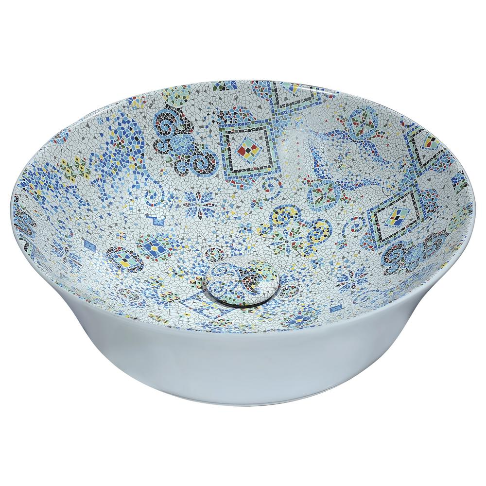 Byzantian Series Ceramic Vessel Sink in Mosaic White