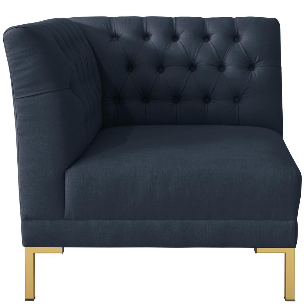 Linen Navy Diamond Tufted Corner Chair