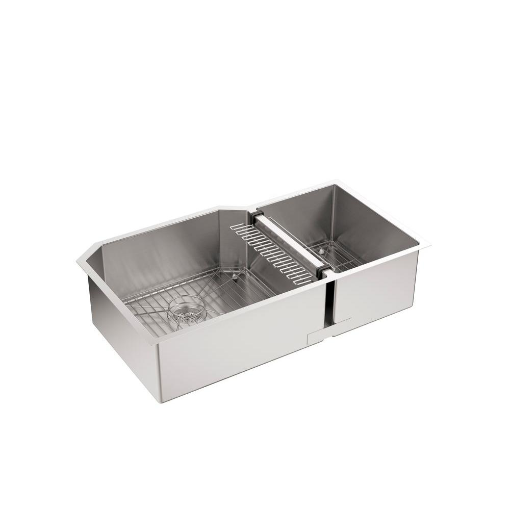 Marvelous KOHLER Strive Undermount Stainless Steel 36 In. Double Bowl Kitchen Sink  Kit With Bowl Rack