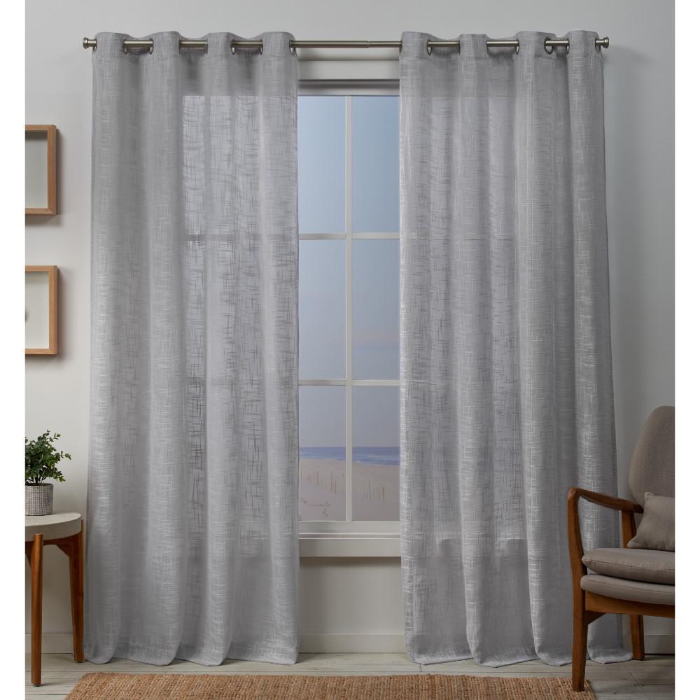 Sena 54 in. W x 84 in. L Sheer Grommet Top Curtain Panel in Cloud Gray (2 Panels)