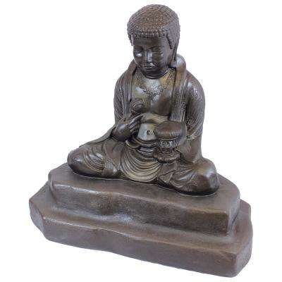 24 in. Bronze Color Meditating Buddha Lawn and Garden Statue