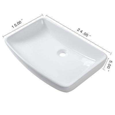24 in. Modern Oval Bathroom Above in White Porcelain Ceramic Vessel Vanity Sink Art Basin