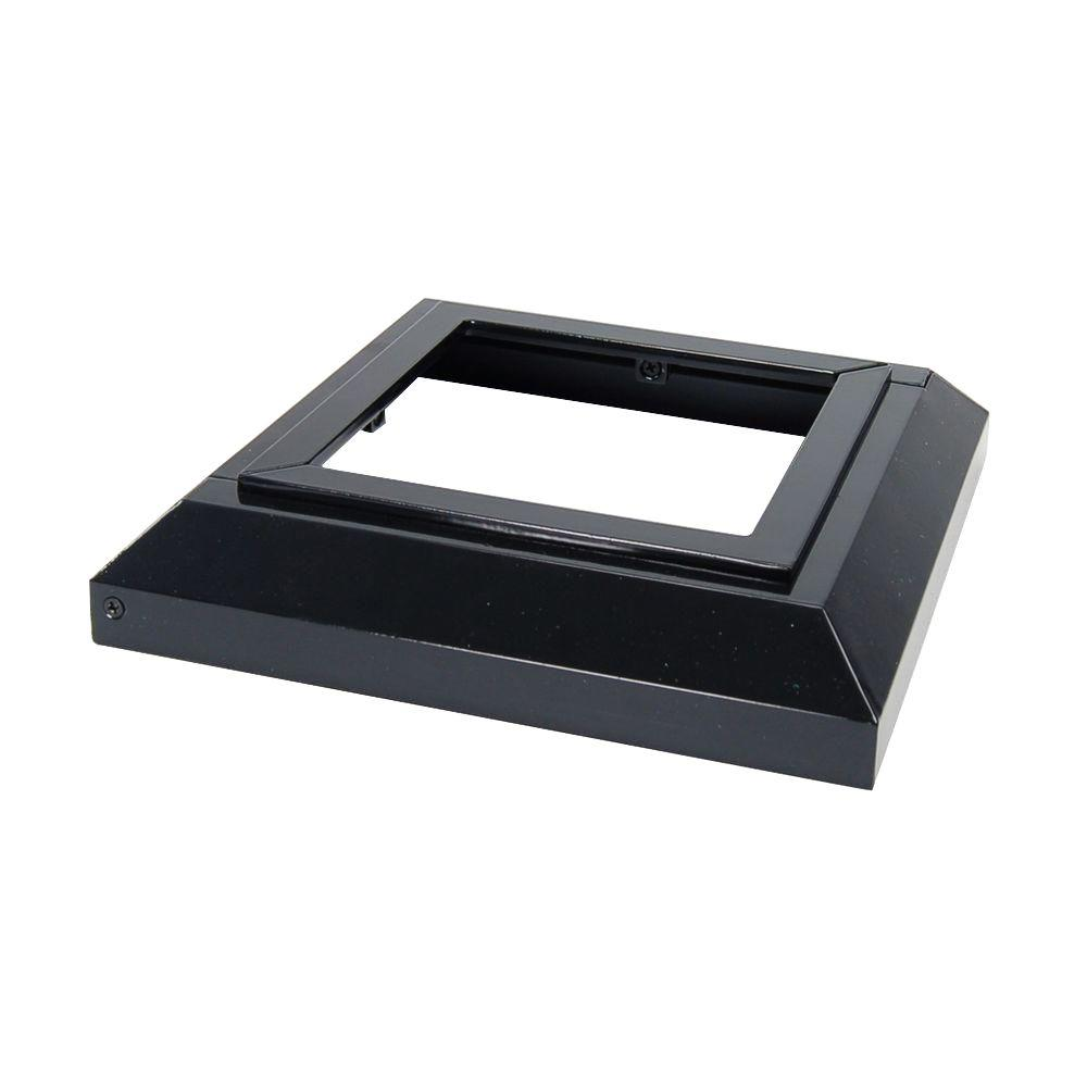 989453dbbba Fortress Accents 5 in. x 5 in. Gloss Black Aluminum Deck Post Base ...