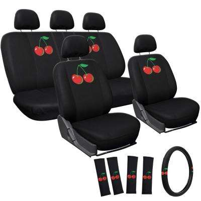 Polyester Seat Cover Set 24 in. L x 21 in. W x 40 in. H 17-Piece Embroidered Cherry Seat Cover Set
