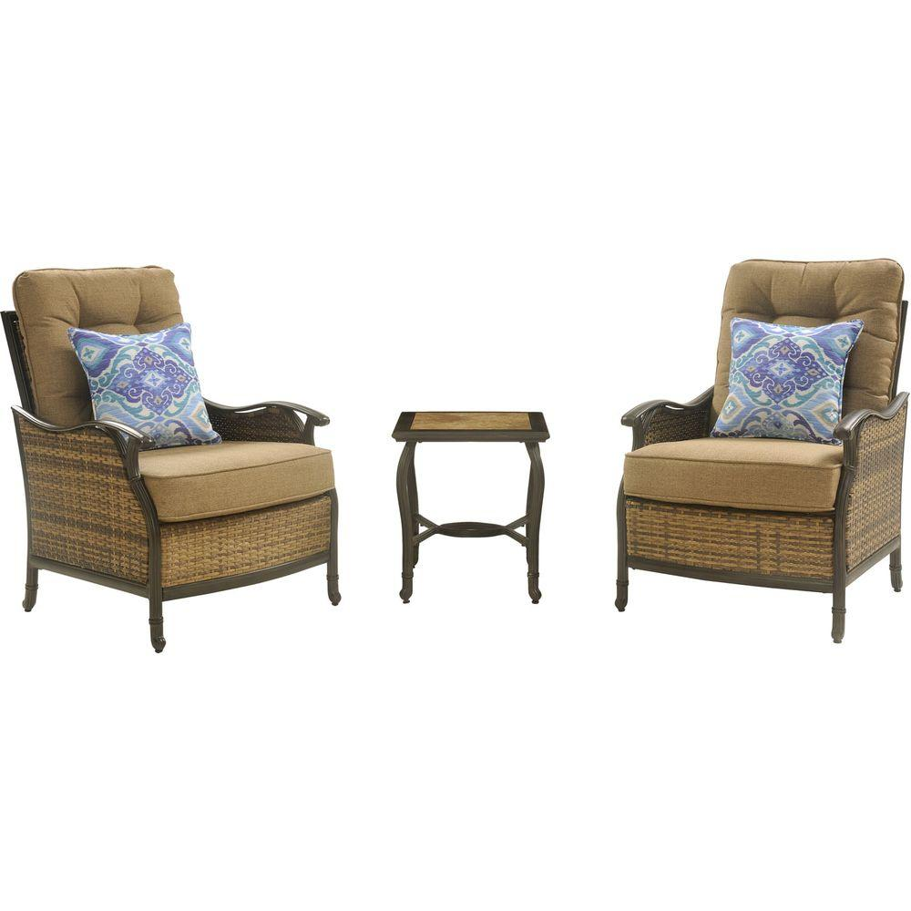 Hanover hudson 3 piece patio square lounge set with teak for Patio lounge sets