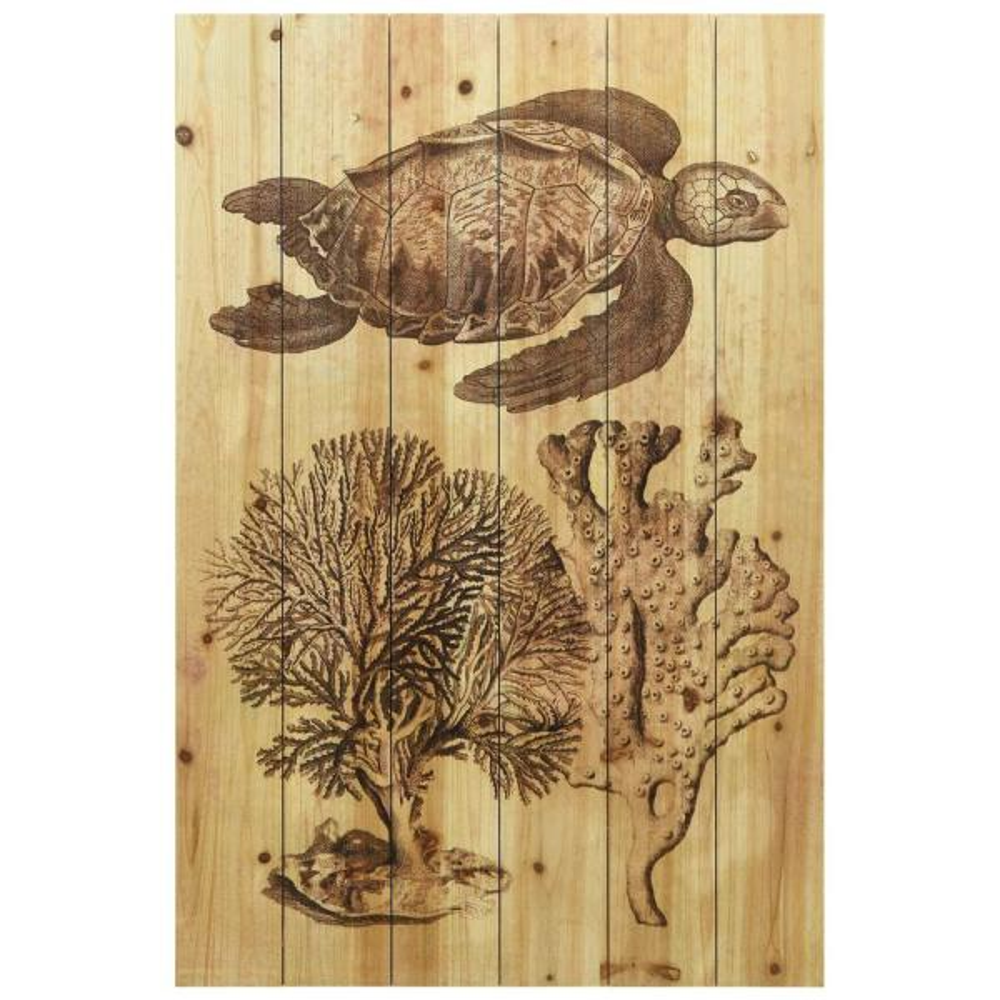 Underwater Sea Turtle Arte De Legno Digital Print On Solid Wood