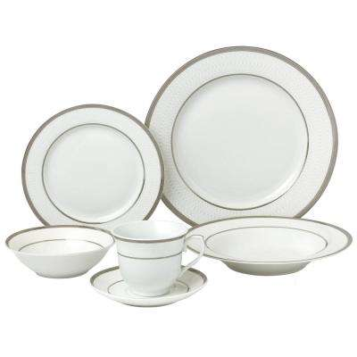 24-Piece Silver Porcelain Dinnerware Service for 4-Ashley