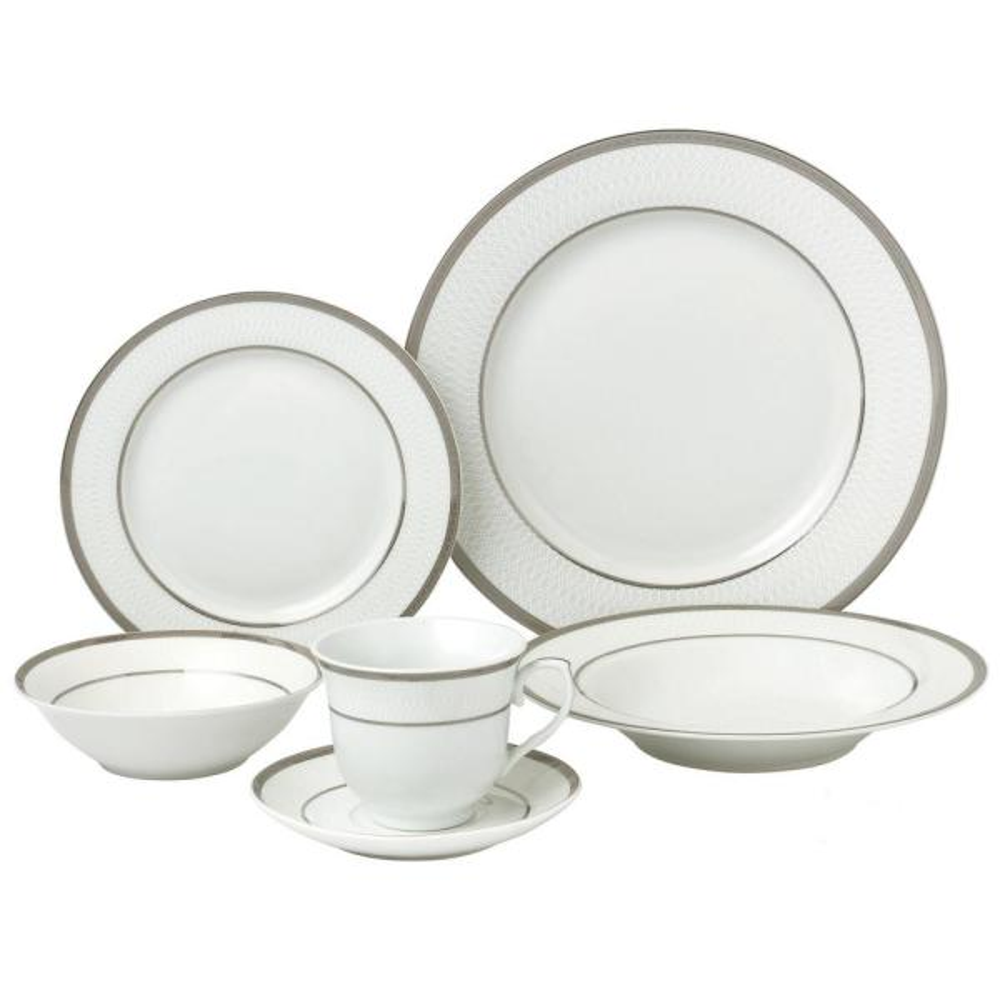 Lorren Home Trends 24 Piece Silver Porcelain Dinnerware Service For