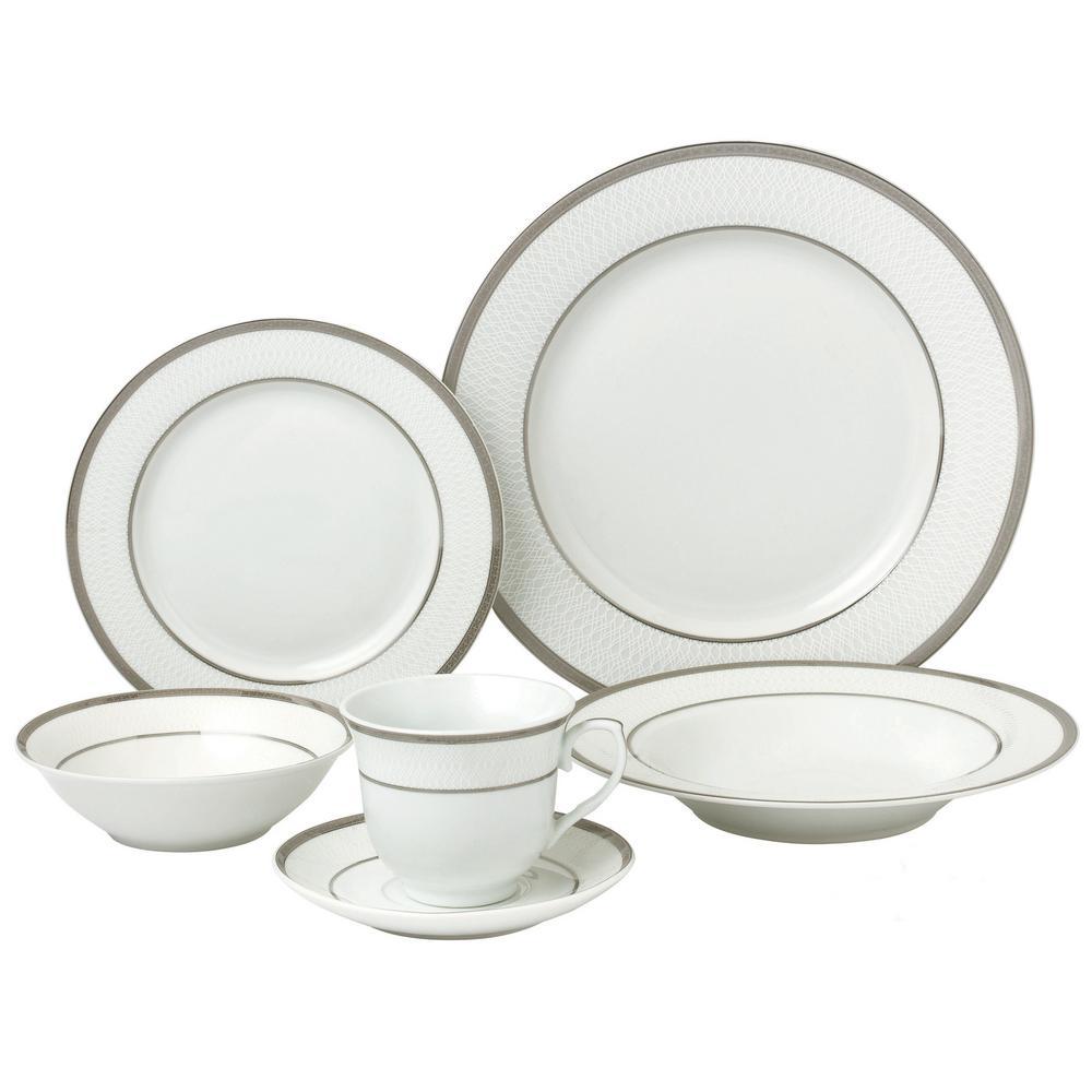 24-Piece Formal Silver Border Porcelain Dinnerware Set (Service for 4)