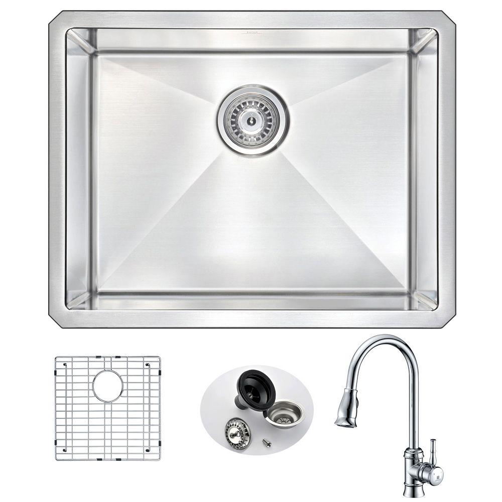 all in one kitchen sink anzzi vanguard undermount stainless steel 23 in single 7422