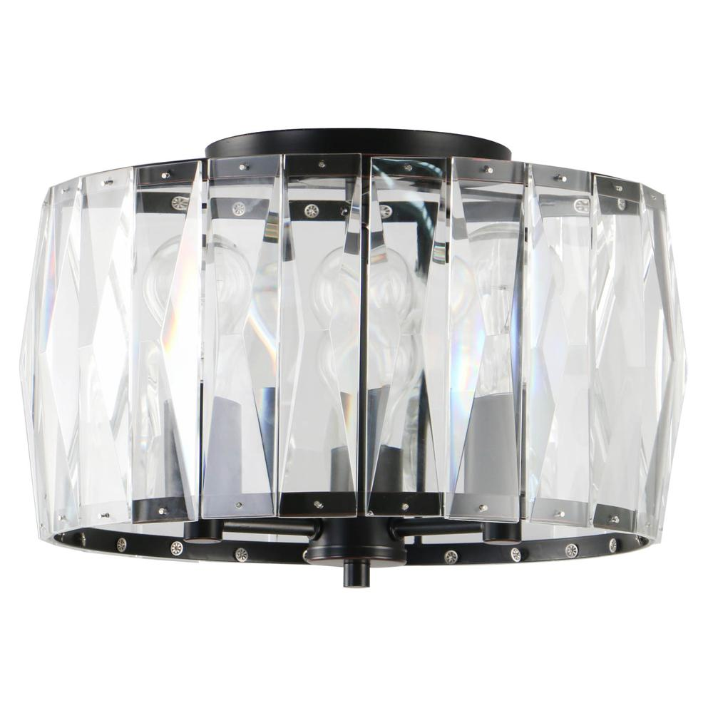Home Decorators Collection 3-Light Black Flush Mount with Clear Glass Crystal Shade