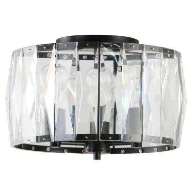 3-Light Black Flush Mount with Clear Glass Crystal Shade