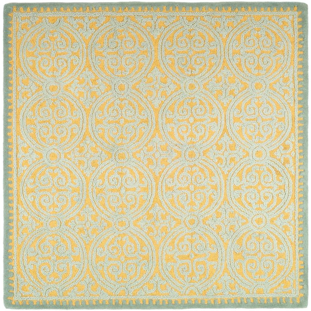 Cambridge Blue/Gold 8 ft. x 8 ft. Square Area Rug
