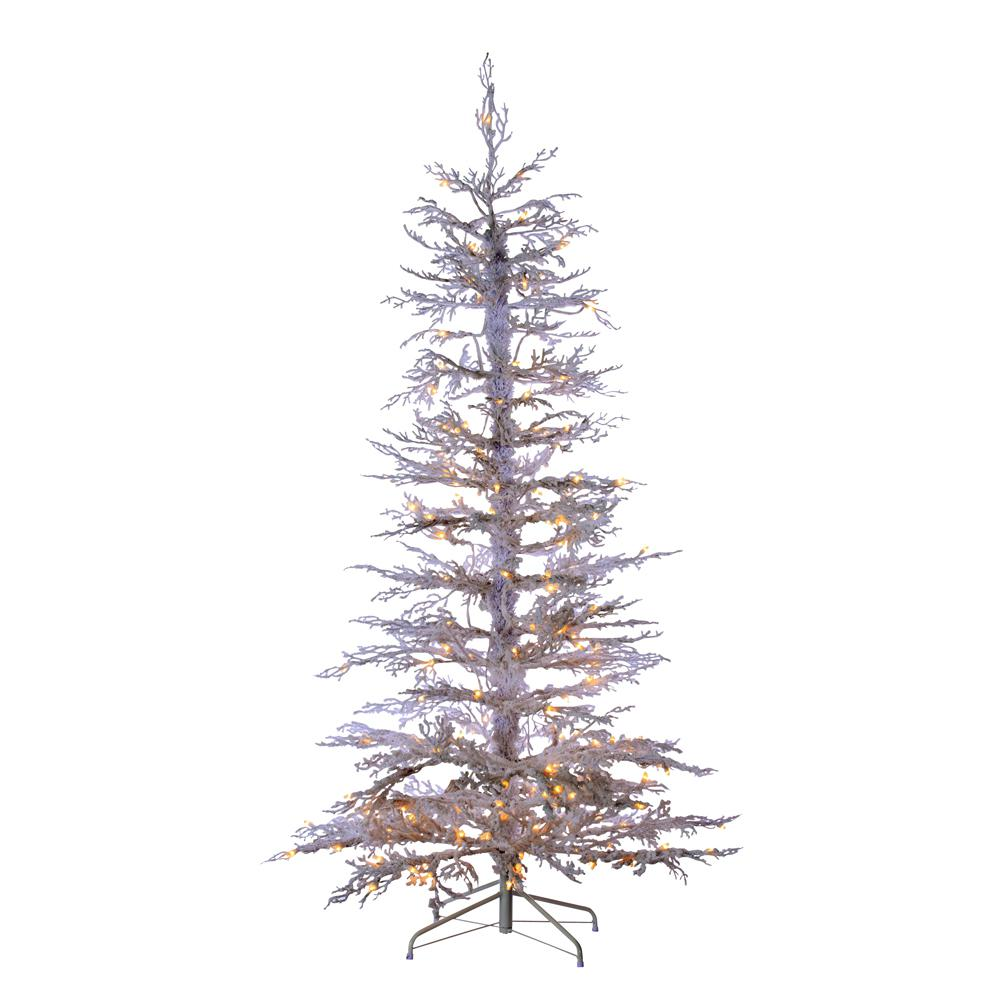 Pre Lit Christmas Twig Tree: Sterling 6.5 Ft. Indoor Pre-Lit Flocked White Twig