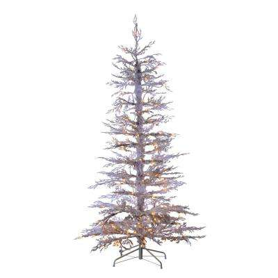 6.5 ft. Indoor Pre-Lit Flocked White Twig Artificial Christmas Tree with 200 Clear Lights